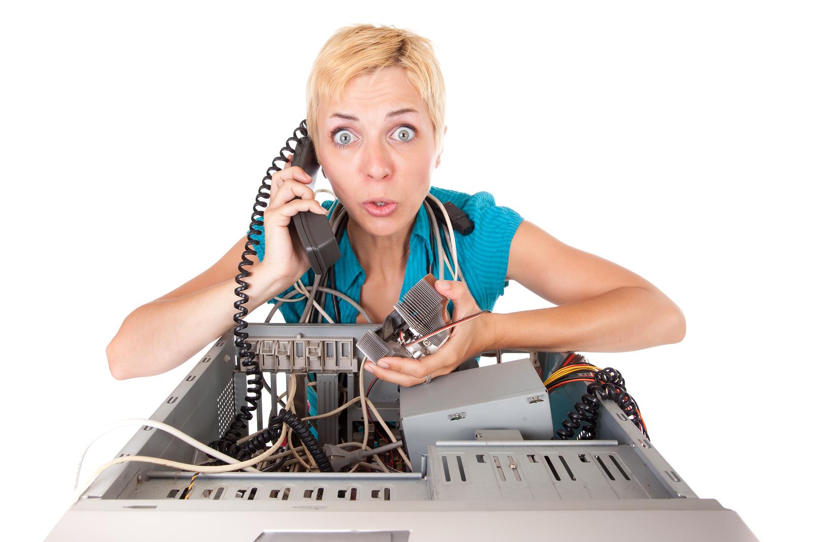 Woman calling for computer repair help
